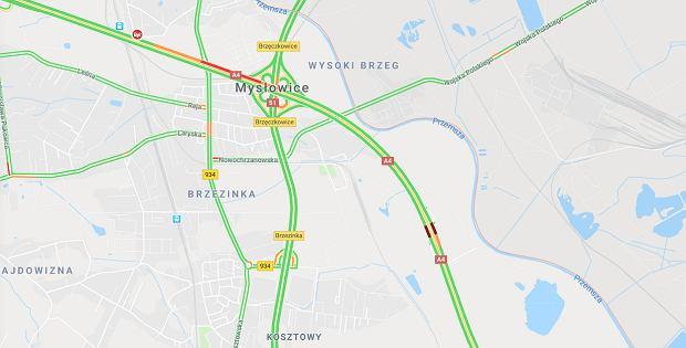 Kolizja na autostradzie A4 w Mysłowicach