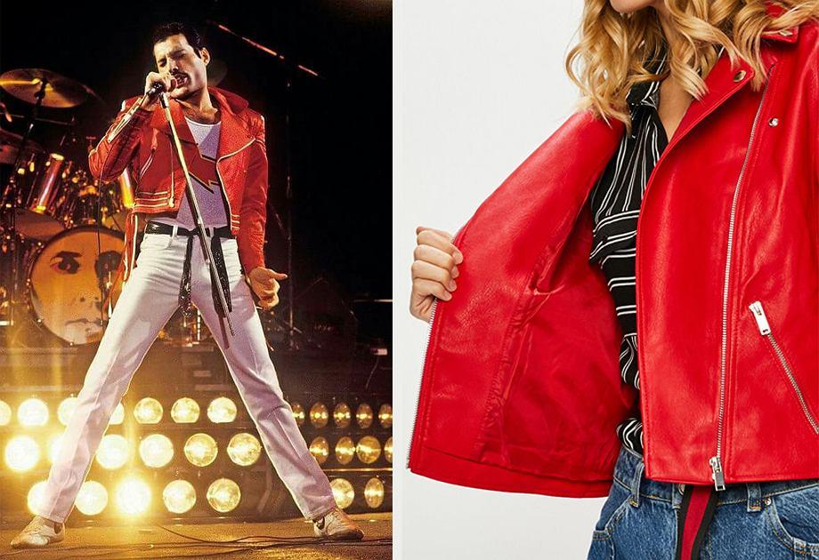 Skórzana kurtka w czerwieni oddaje wyrazisty styl Freddiego Mercury'ego