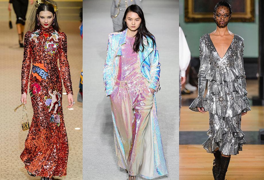 Cekiny królowały w kolekcjach projektantów na jesień-zimę 2018/2019. Od lewej: Dolce&Gabbana, Balmain, Erdem