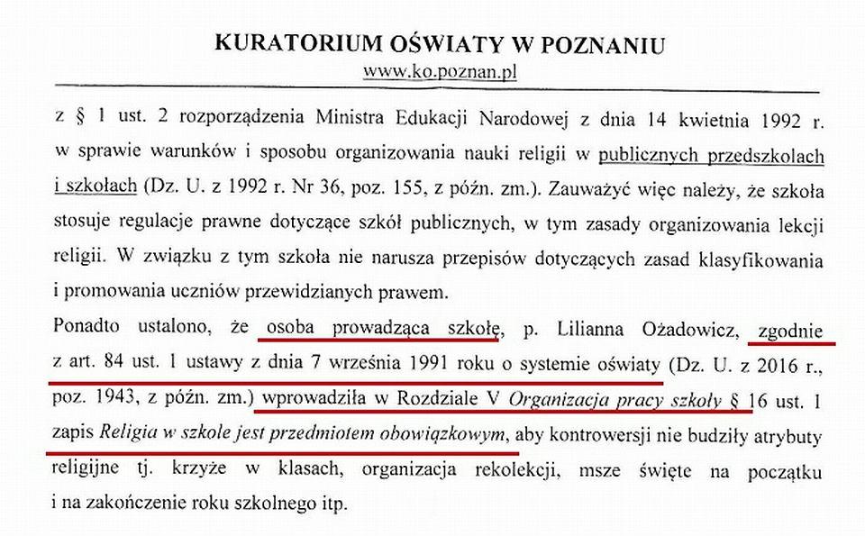 Odpowiedź Kuratorium z Poznania