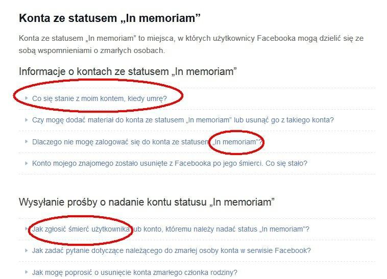 Instrukcje Facebooka dotyczące konta