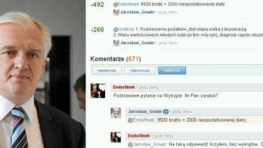 Jarosław Gowin na Wykop.pl