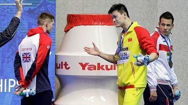 Na mistrzostwach świata w Korei w 2019 r dwóch zawodników nie chciało stanąć na podium z Sun Yangiem, wśród nich Duncan Scott (na zdj. z lewej). To do Brytyjczyka Sun mówi: Jesteś przegranym, ja jestem zwycięzcą