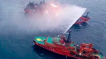 22.01.2019, akcja gaszenia statków, które eksplodowały podczas nielegalnego przeładunku gazu płynnego w Cieśninie Kerczeńskiej.