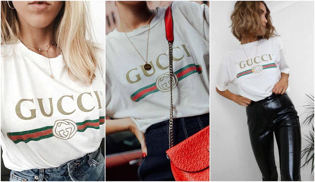 T-shirt z logo Gucci noszą prawie wszystkie blogerki, w domu handlowym Vitkac już się wyprzedał
