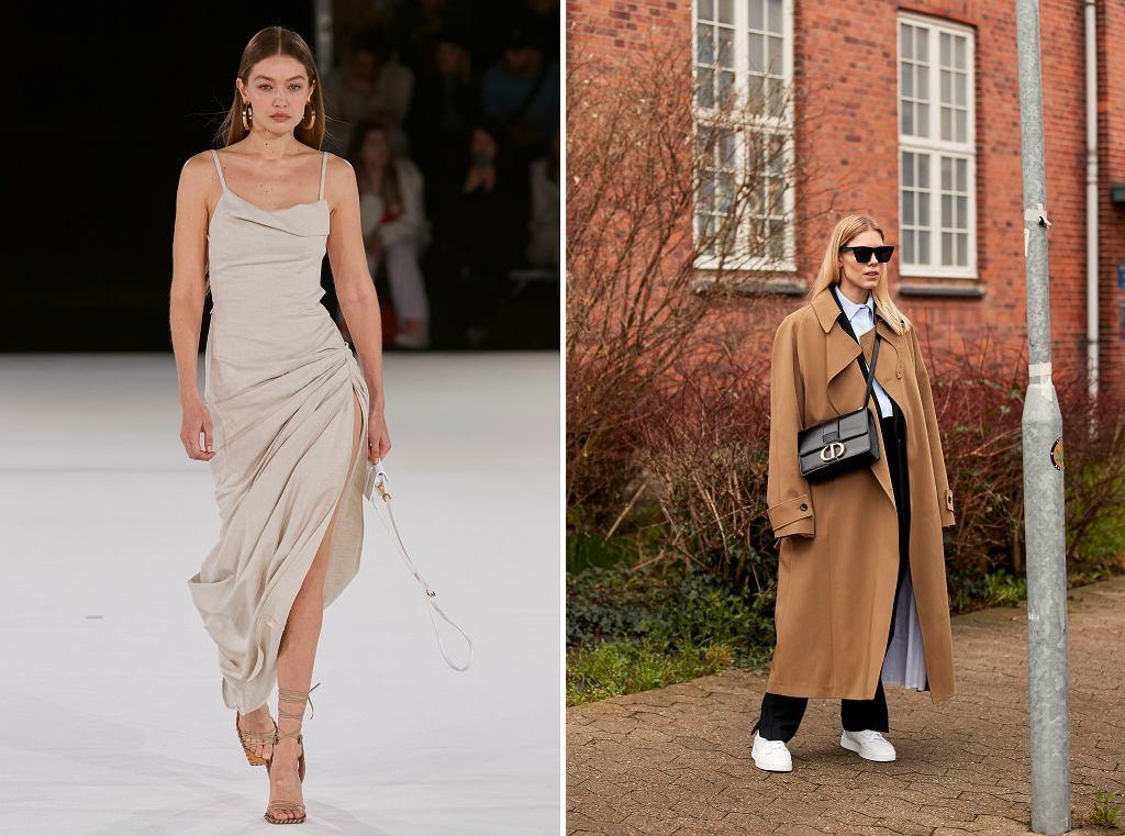Gigi Hadid na pokazie mody Jacquemus / Kobieta w beżowym płaszczu