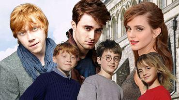 Rupert Grint z Danieleme Radcliffe i Emmą Watson w 2001 roku i dziś