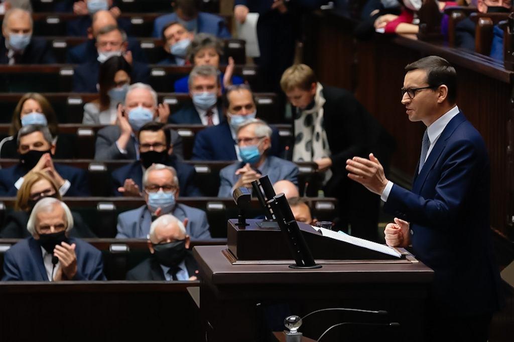 Mateusz Morawiecki w Sejmie, 14 października 2021.