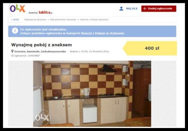 Aneks z piekła rodem w ogłoszeniu na olx.pl (Zrzut ekranu)