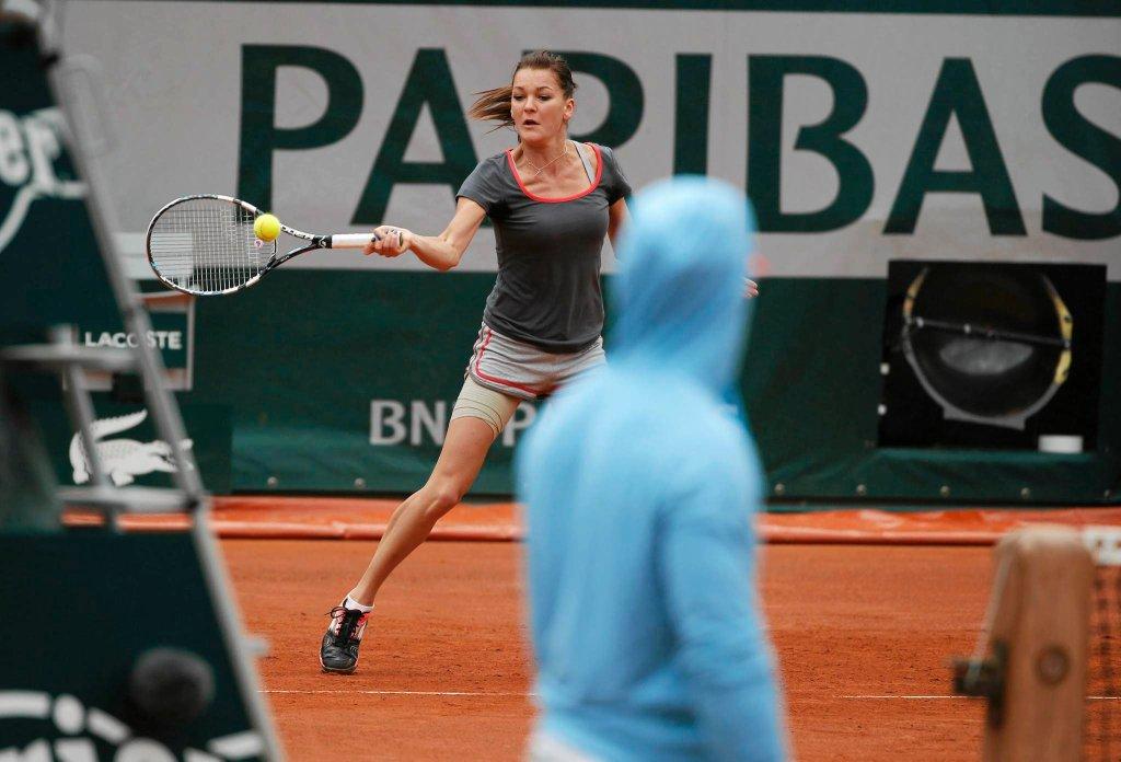 Agnieszka Radwańska na treningu w Paryżu
