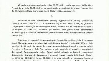 Oświadczenie Roberta Kiłdanowicza, prezesa pierwszoligowego Stomilu Olsztyn (str. 1)