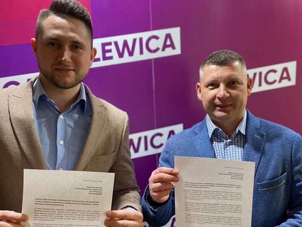 Radni Lewicy Sebastian Trzeszkowski oraz Michał Lewandowski