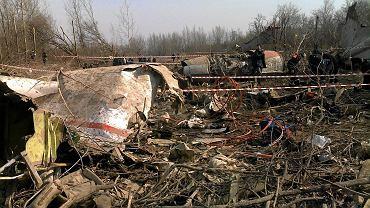Fragmenty szczątków z fragmentem kadłuba, kabiny pasażerskiej, w tle widać silnik i po prawej stronie usterzenie samolotu