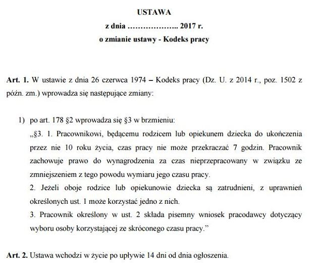 projekt Polskiego Stronnictwa Ludowego zakładający skrócenie czasu pracy rodzica dziecka do 10. roku życia