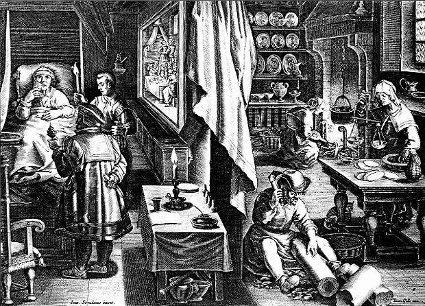 Rycina z XVI wieku przedstawiająca leczenie chorego na kiłę za pomocą nalewki wytwarzanej z kory drzewa gwajakowego. Wierzono, że jeśli plaga pochodzi z Ameryki, to może pokonać ją pochodząca stamtąd roślina