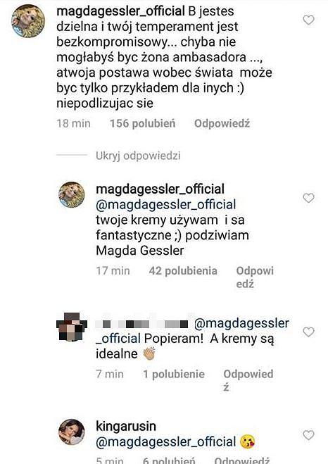 Magda Gessler popiera Kingę Rusin