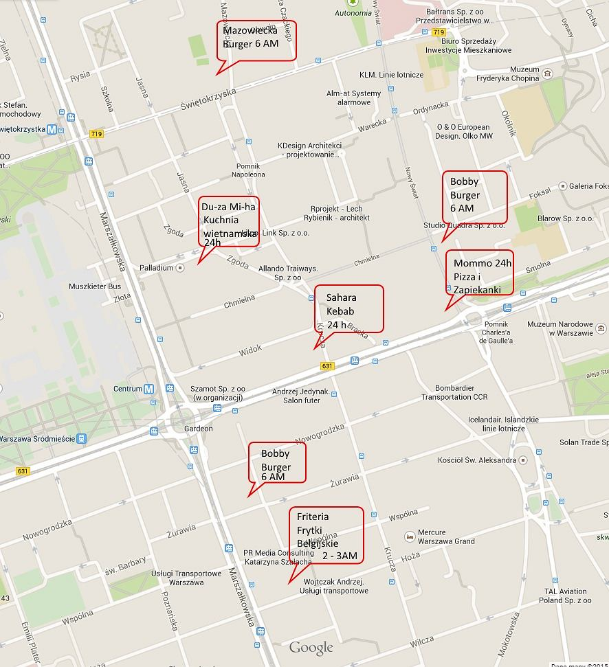 Nocna fast foody Warszawa