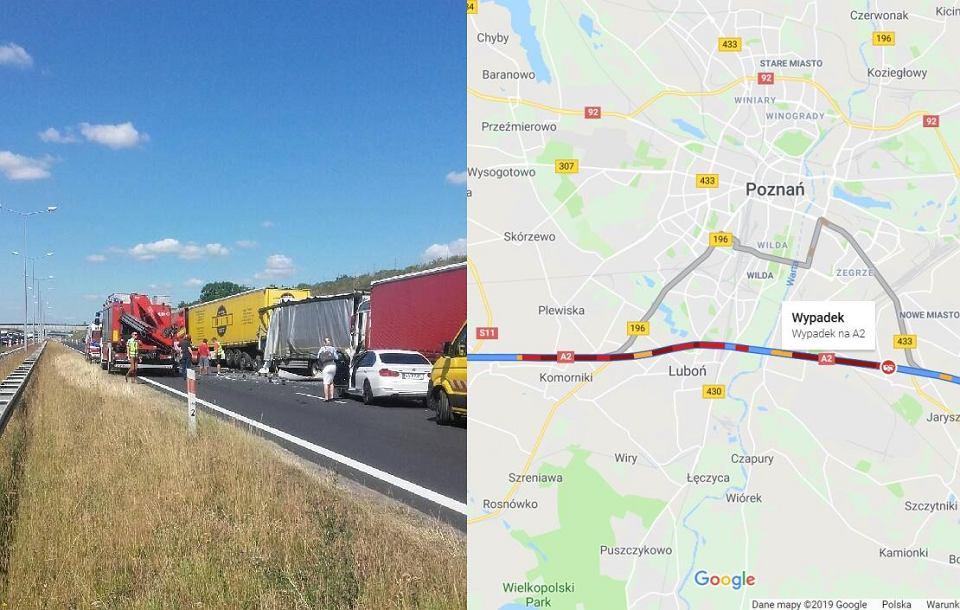 Wypadek na A2 po którym autostrada w kierunku Świecka została zablokowana