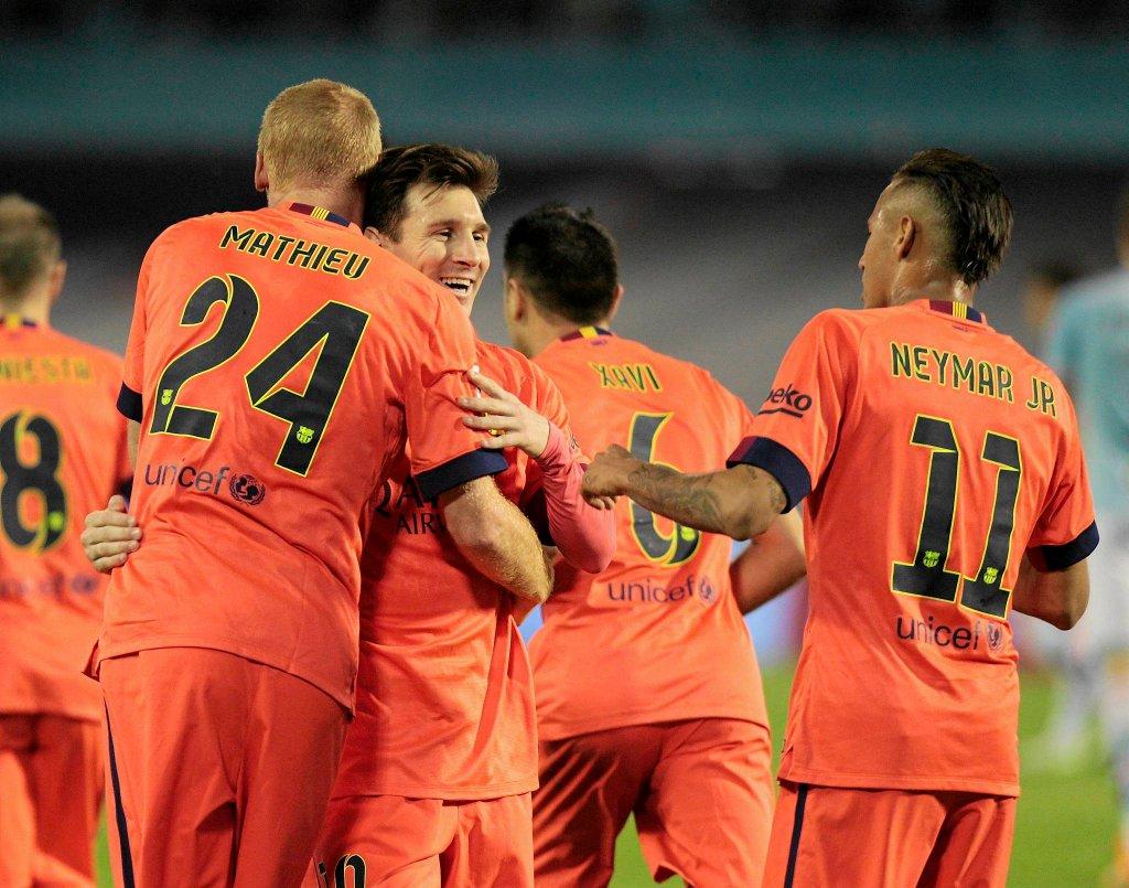 Celta Vigo - FC Barcelona 0:1. Radość graczy Barcelony