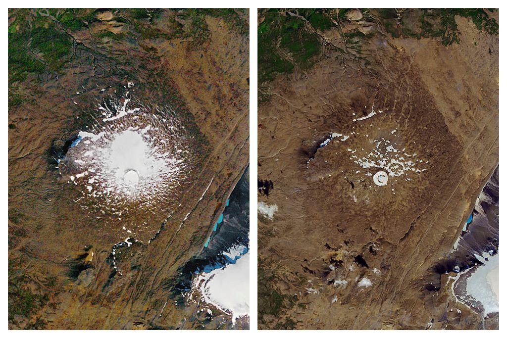Lodowiec Okjokull w zasadzie zniknął. Porównanie zdjęć z roku 1986 i 2019