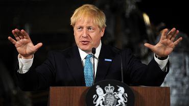 Premier Wielkiej Brytanii Boris Johnson podczas wystąpienia w Science and Industry Museum w Manchesterze, 27 lipca 2019 r.
