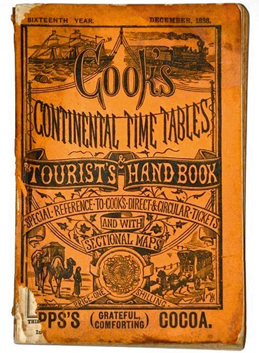 Thomas Cook: człowiek, który dał nam wakacje, wakacje, logo z klasą, Thomas Cook - przewodnik i rozkład jazdy z 1888r