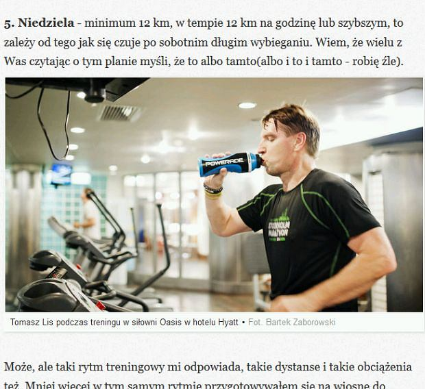 Tomasz Lis i fragment jego bloga, a tam - butelka Powerade