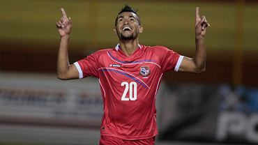 Anibal Godoy of Panama celebrates a goal against El Salvador during a friendly soccer match at the Cuscatlan Stadium in San Salvador