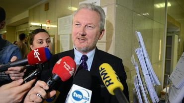 Były wiceszef KNF Wojciech Kwaśniak jako pokrzywdzony podczas rozprawy w sprawie jego pobicia, 9 stycznia 2019