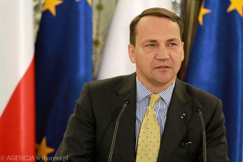 Radosław Sikorski na konferencji przed posiedzeniem Sejmu