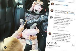 """Olga Frycz pokazała, jak podróżuje autem z córką.""""Widziszdobrzew tym lusterku?"""" - pytają fani"""
