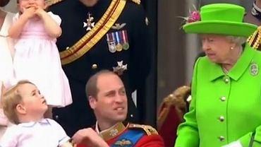 Książę George, książę William i królowa Elżbieta