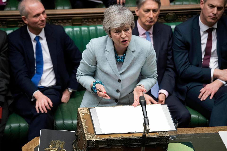 Premier Wielkiej Brytanii Theresa May podczas wystąpienia w parlamencie, 25 marca 2019.