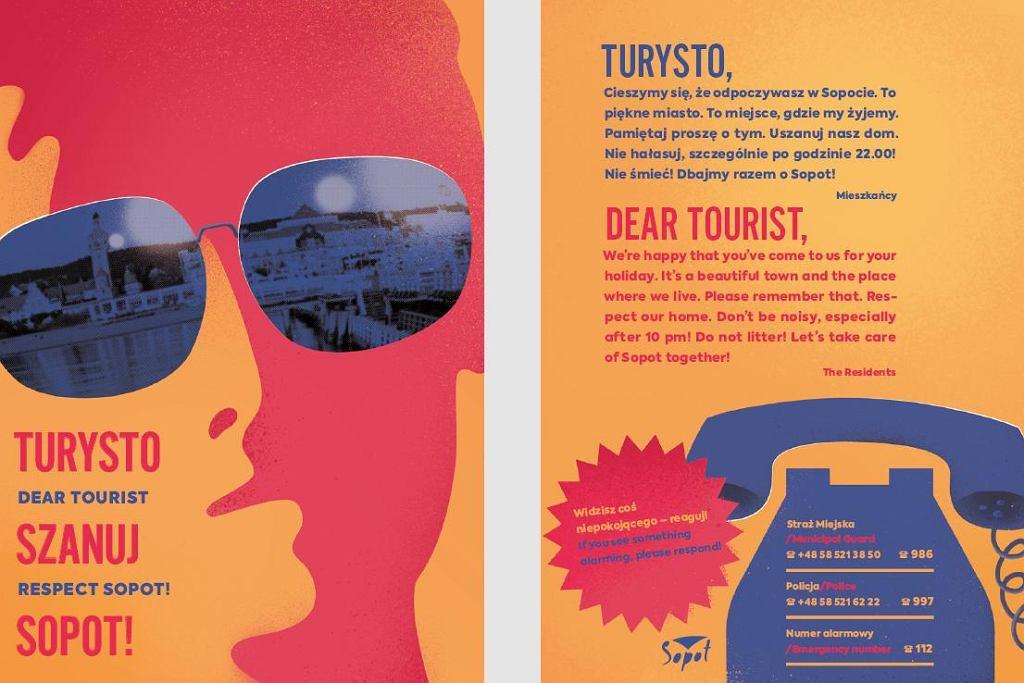 Plakat 'Turysto, szanuj Sopot'