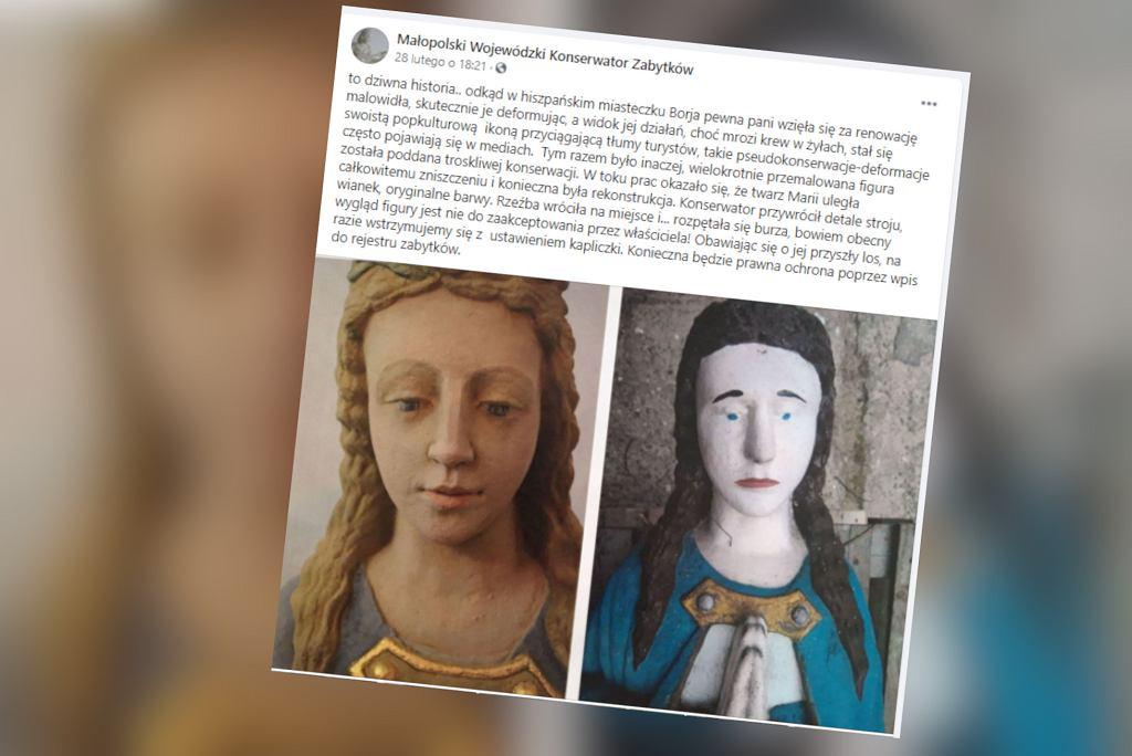 Renowacja figury Matki Boskiej. Efekt nie powala. 'Żeby tak zbezcześcić piękno, które pradziadkowie stworzyli'