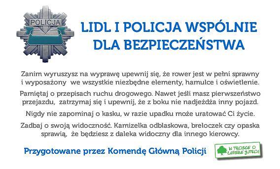 Takie rady dla cyklistów ma Komenda Główna Policji i Lidl.