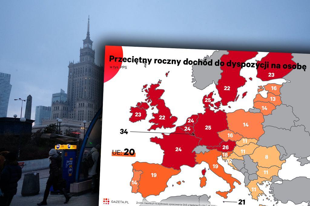 Dochód rozporządzalny w państwa UE (i Wielkiej Brytanii)