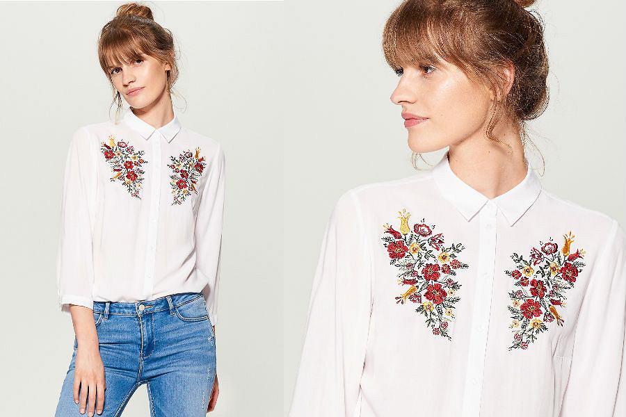 Biała koszula z haftem