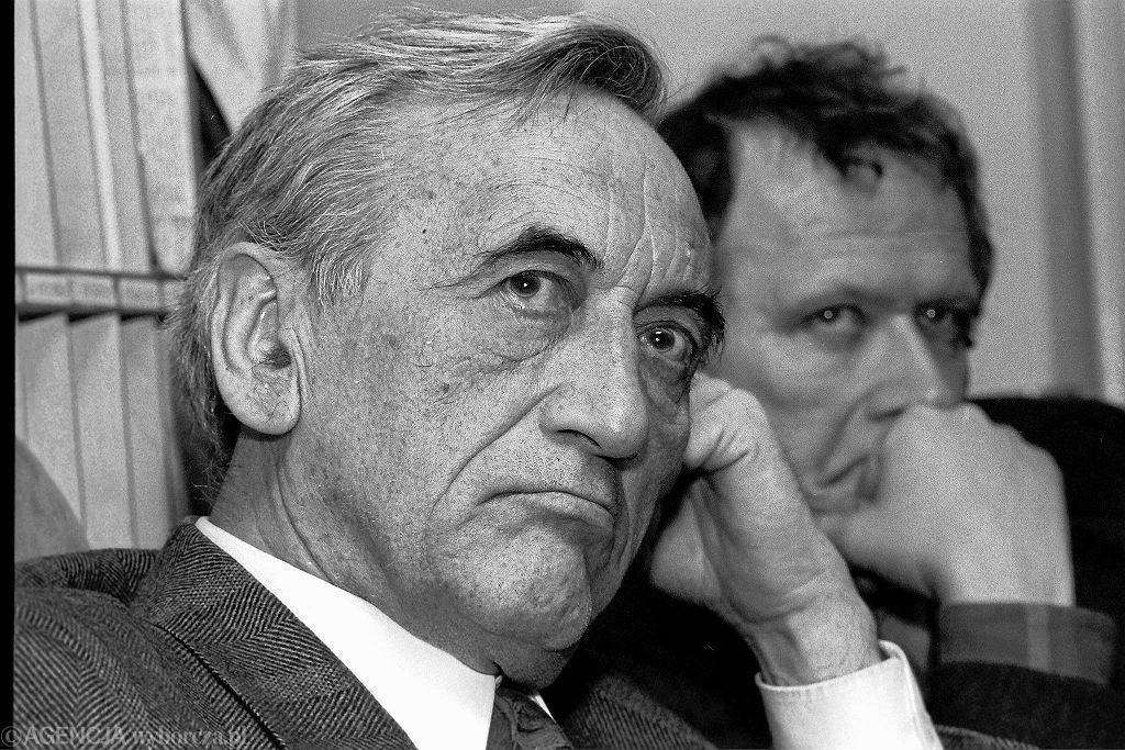 Tadeusz Mazowiecki i Adam Michnik, zdjęcie z marca 1992 roku