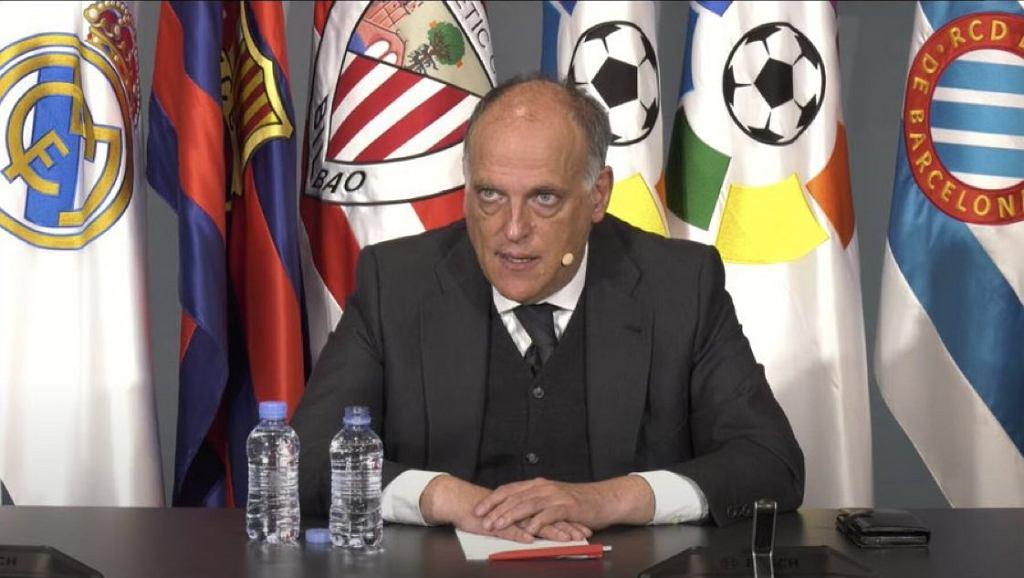 Javier Tebas na konferencji prasowej LaLiga