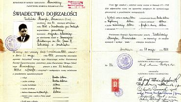 Świadectwo maturalne Henryka Zielińskiego, 1938 rok