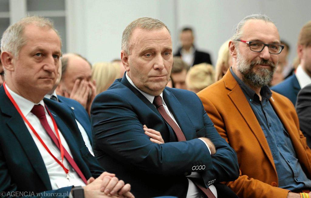 Sławomir Neumann, Grzegorz Schetyna i Mateusz Kijowski podczas spotkania warszawskiej PO