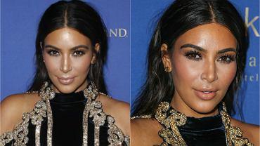 """Kim Kardashian w czasie swojej drugiej ciąży przytyła aż 30 kilogramów. Celebrytka nie ukrywała, że po urodzeniu pierwszego dziecka miała duży problem z powrotem do formy, jednak teraz szybko udało się jej zrzucić większość """"nadbagażu"""". Kardashian nie osiada na laurach i nadal planuje schudnąć jeszcze prawie 10 kilo. Gwiazda sama robi sobie chyba jednak krzywdę, dobierając do swojej trudnej sylwetki niezbyt udane kreacje. Wczoraj Kim pojawiła się na 3. urodzinach klubu Hakkasan w Las Vegas i... nie zachwyciła. Widać, że schudła już ponad 20 kilogramów?"""
