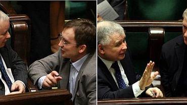 Jarosław Kaczyński ze Zbigniewem Ziobrą i Jarosławem Gowinem
