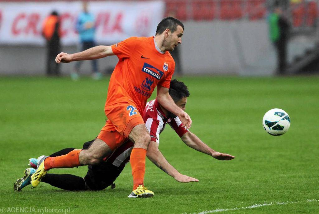 Emil Drozdowicz, napastnik Termaliki, podczas meczu z Cracovią
