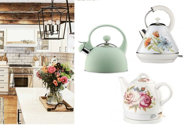 Kolorowe czajniki do kuchni w stylu rustykalnym
