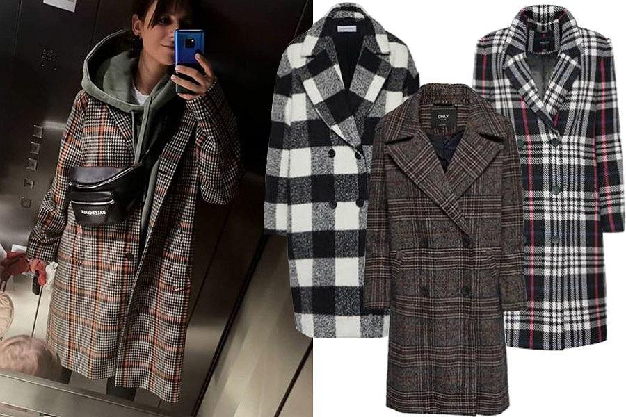 płaszcz w kratę na zimę / mat. partnera