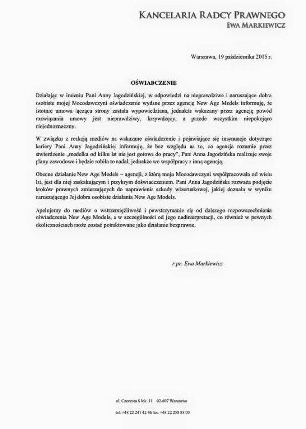 Pismo prawnika Ani Jagodzińskiej