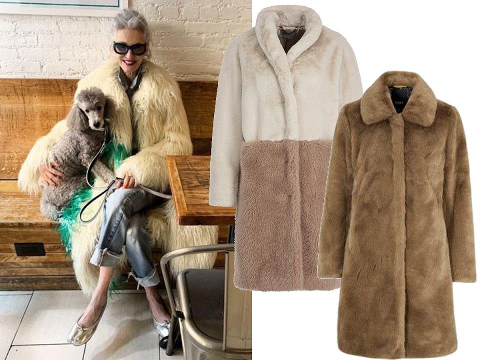 Długie futrzane płaszcze dla kobiet po 50-tce