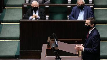 Premier rządu PiS Mateusz Morawiecki podczas 21. posiedzenia Sejmu X Kadencji. Warszawa, 18 listopada 2020